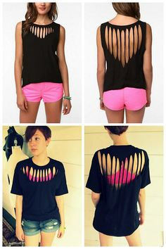 DIY Urban Outfitters Inspired Silence & Noise Slashed Tee Tutorial from Wobisobi here. Top Photos: $24.99 (on sale) Urban Outfitters Sil...