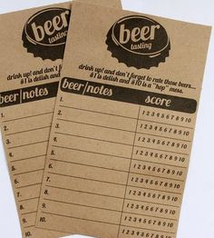 Beer Tasting Score Cards | Gather 'round a group of fifteen of your hops-loving-est comra... | Beer
