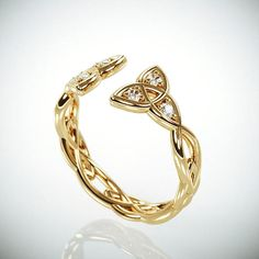 Christmas SALE ~A handmade solid 14k gold celtic triquetra wedding band set with 6 tiny diamonds~  #14kgoldweddingring #weddingribg #diamondsweddingring #uniqueweddingband #statementring #sale #christmassale #gemsweddingring #thinweddingring #TrinityKnotRing #celticweddingring #WeddingBands #NaturalDiamonds
