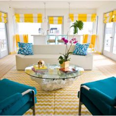 Instead of doing it in the kitchen? Or carry the colour throughout the house- I feel turquoise chairs are safer than orange....