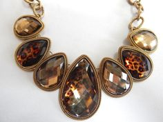 STYLE and CO Gold Tone and Amber Tone Animal Print Statement Necklace #StyleCo #Statement