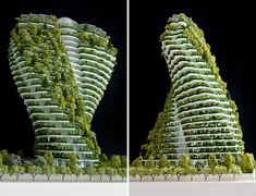 on the last and biggest parcel of land available for residential use in taipei city, vincent callebaut 's twisting, foliage-filled 'agora tower' will preside over the rest of the urban xinyin district. Green Architecture, Futuristic Architecture, Sustainable Architecture, Amazing Architecture, Architecture Details, Sustainable Ideas, Vincent Callebaut, Palacio Imperial, Vertical Farming