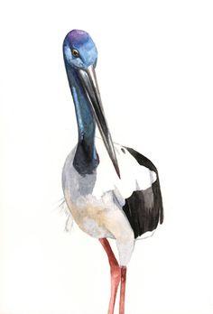 Jabiru Bird Painting bird art print of watercolor от LouiseDeMasi