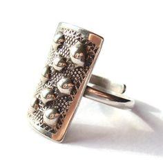 SOLD. Vintage modernist Danish 830 silver ring by Jørn Arne Backhausen of Skovlunde, Copenhagen, 1960s, repoussé design, adjustable shank, https://www.etsy.com/listing/224391994/vintage-modernist-danish-830-silver-ring