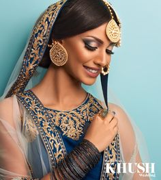 Breathtaking in blue, Majestic Beauty brings a fresh Spring makeup look for brides   +44(0)7712 621 492 www.majesticbeauty.co.uk  Outfit: Zarkan of London Jewellery: Anees Malik Ring: Ottoman Hands