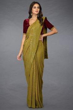 Mehandi Green Sequin Embroidered Stitched Saree with Blouse Mehandi Green Sequin Embroidered Saree with Blouse Saree Collection, Designer Collection, Saree Trends, Saree Models, Sari Dress, Plain Saree, Stylish Sarees, Saree Look, Elegant Saree