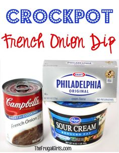 Crockpot French Onion Dip Recipe! This dip or gravy couldn't be easier, and it's absolutely delicious! You could even use it as an extravagant gravy for your mashed potatoes! YUM!