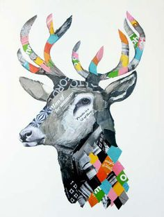 Oslo; mixed media and collage on paper, by Emma Gale 76 x56 cm featured on Kitty as a Picture Blog