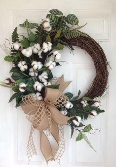 Cotton Wreath, Front Door Wreath, Farmhouse Wreath, Year Round Wreath, Everyday Wreath, Cotton Burlap Wreath, Welcome Wreath, Spring Wreath by WreathWorksbyCathy on Etsy
