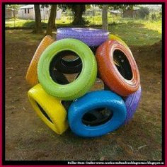 Dollar Store Crafter: Turn Old Tires Into A Car Tire Sphere