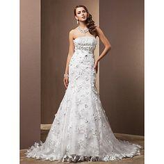 A-linePrincess Strapless Chapel Train Satin Wedding Dress – USD $ 399.99