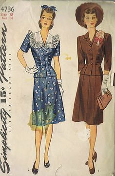 Vintage 40s Misses 2 Piece Dress Pattern    The Top pattern is smartly fitted with a gathered dart seam in the front and darts in the back.  The seven-gored Skirt is joined to a waist band at the upper edge.  Style 1 is finished with a pert notched collar.  The softer effect of Style 2 is achieved by the daintily ruffled detachable collar.  Choose short or three-quarter length sleeves.