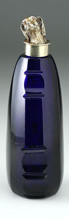 rare c1870 cobalt blue cut glass scent perfume bottle with unusual silver gilt field spaniel dog's head top -