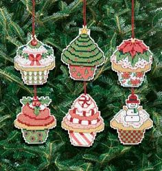 So wonderful!  done on plastic canvas with felt backing.  Kids would love this series on the tree!  Christmas Cupcake Ornament, counted cross-stitch...priced at $17.