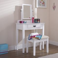 Dressing Table Set with Mirror White Solid Wood Vanity Bedroom Furniture