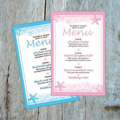 Custom Wedding Beach Theme With Starfish Design For Menu, Printable, *digital…