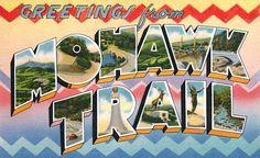 Greetings from Mohawk Trail postcard print, Vintagraph.com.