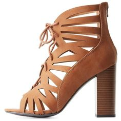 Delicious Caged Lace-Up Chunky Heel Sandals ($20) ❤ liked on Polyvore featuring shoes, sandals, camel, caged heel sandals, open toe sandals, cushioned sandals, chunky-heel sandals and chunky heel shoes