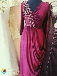 Indian Gowns, Indian Fashion Dresses, Indian Designer Outfits, Pakistani Dresses, Designer Dresses, Drape Gowns, Draped Dress, Modest Dresses, Stylish Dresses