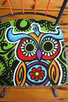 hand painted owl chair, retro style hippie chair with beaded trim and glass knobs, sixties style owl chair, orange, green, gypsy style chair