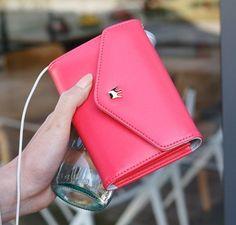 Womens Clutch Wallet Cell Phone Case Card Holder PU bag purse For iPhone 5 Iphone 4, Iphone Wallet, Clutch Wallet, Pouch, Pink Iphone, Purse Styles, Kpop, Bleu Marine, Wallets For Women