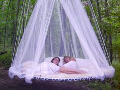 Extraordinary Floating Beds White Color Mosquito Oudoor Design Ideas