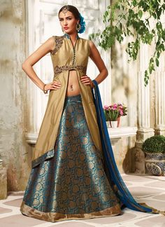 Buy Mod Embroidered Work Blue A Line Lehenga Choli, Online #lehengacholi #lehenga