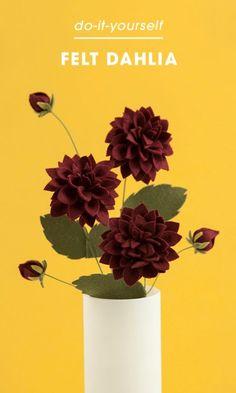 ideia de flor dália em feltro como fazer