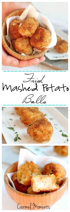 Fried Mashed Potato Balls -- Perfect use for leftover mashed potatoes. Crunchy outside, creamy inside |carmelmoments .com