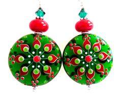 Green Red Christmas Earrings Holiday Earrings by Elegencebyelaine, $44.00