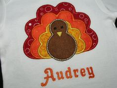 Thanksgiving Turkey Personalized Name Baby by PickleBeanBoutique Thanksgiving Baby, Holiday Fun, Holiday Quote, Baby Time, My Little Girl, Fall Halloween, Book Worms, Sewing Crafts, Arts And Crafts