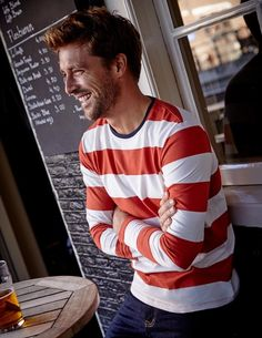 Update your wardrobe with this stripy, long-sleeved jersey T-shirt. We think it'll look perfect with your trusty pair of jeans and some desert boots for a relaxed night at the pub. But the supersoft cotton feels great no matter how you wear it.