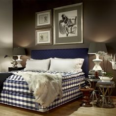 i love the blue checkered pattern on the hästens mattress. there