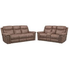 Montana Dual Manual Reclining Sofa and Reclining Loveseat Set - Taupe
