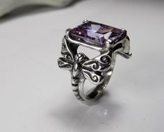 Dragonfly Ring  Light Amethyst Gemstone by FantaSeaJewelry on Etsy, $115.00