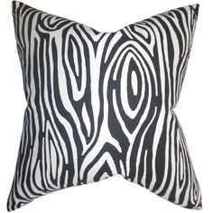 Thirza Swirls Black Feather Filled 18-inch Throw Pillow