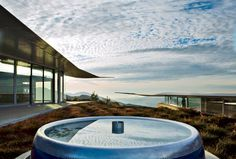 The 747 Wing House  David Hertz Architects  Malibu, California  A former engine cowling is now a Zen-like fountain, with an optional flame at its center.  Photo © Sara Jane Boyers