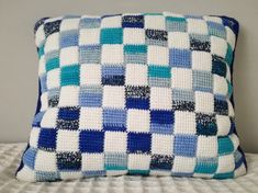 Tunisian Crochet Pillow Entrelac