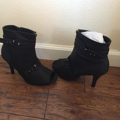 aad7c30aee39 ❗️FINAL PRICE Torrid Leather Peep Toe Heeled Boot Gorgeous faux leather peep  toe black heeled boots by Torrid. Heel measures Widest part of sole is Heel  ...