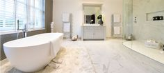 Enter a dream land of complete luxury and elegance in this grand bathroom. Alluring marble-effects from floor to walls provided by Minoli tiles. Minoli Marvel Calacatta Extra marble-look tiles deliver stunning surroundings. Marble Look Tile, Marble Effect, Timeless Bathroom, Beautiful Bathrooms, Bathroom Goals, Bathroom Ideas, Virginia Homes, Grey Tiles, Living Room Flooring