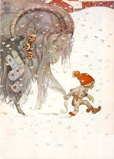 John Bauer, (Swedish artist) Christmas, Julbok and tomte