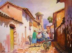 calle del pueblo de anta 1 Peruvian Art, Mexico Art, Horse Accessories, Southwest Art, Native American Indians, Old Houses, Home Art, Watercolor Paintings, Fairy Tales