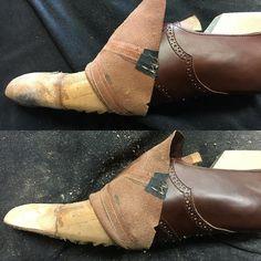 Toepuff  Before、afterですが写真だと、違いがわかりずらい… 2016.1.16  #toepuff #handsewn #shoemaking #customshoes  #leathercraft #custom #handmade #shoemaker #Liscio #bespokeshoes #革靴 #自作靴 #靴作り #レザークラフト #つり込 #先芯
