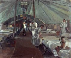one-great-war:  The Officers' Ward at the 41st Casualty Clearing Station - John Hodgson Lobley