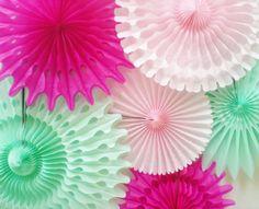 Items Similar To Xl Mint Green Pink Tissue Fans For Pinwheel Backdrop Birthday Wedding Baby Shower Etc Fuchsia Light On Etsy