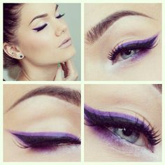 Make up for blue eyes becomes a challenge. Here are a few makeup tips for blue eyes. The best makeup for blue eyes is choosing the perfect shades to enhance the eyes. Lila Eyeliner, Purple Eyeliner, How To Apply Eyeliner, Applying Eyeliner, Dramatic Eyeliner, Color Eyeliner, Silver Eyeliner, Gloss Eyeshadow, Purple Makeup