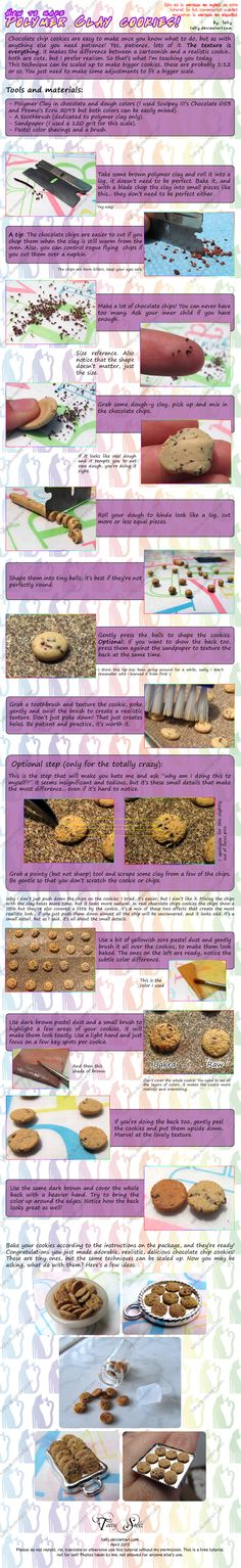 Polymer Clay Chocolate Chip Cookies Tutorial by Talty.deviantart.com on @deviantART. Earrings.