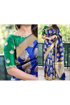 Bollywood Inspired - Traditoinal Blue Zarna Silk Saree  - 1415