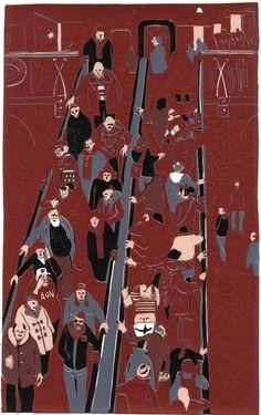 Graham Firth step by step lino print - escalator-print-part-14.jpg (628×1000)