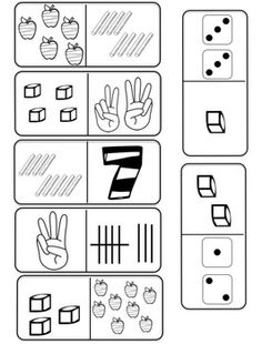 Number Sense Domino (ten frames, tally marks, base 10 blocks, bundles, place value, dice, counting, counting hands, numbers, written numbers, objects)